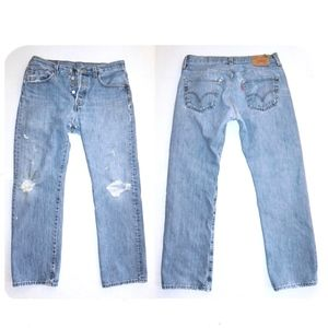 "Vintage 501 Jeans Distressed Holes 30-31"" x 29"""